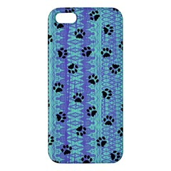 Footprints Cat Black On Batik Pattern Teal Violet Apple Iphone 5 Premium Hardshell Case by EDDArt
