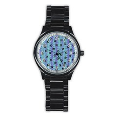 Footprints Cat Black On Batik Pattern Teal Violet Stainless Steel Round Watch