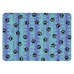 Footprints Cat Black On Batik Pattern Teal Violet Samsung Galaxy Tab 8 9  P7300 Flip Case by EDDArt