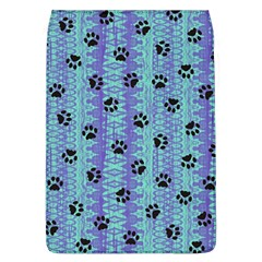 Footprints Cat Black On Batik Pattern Teal Violet Flap Covers (l)