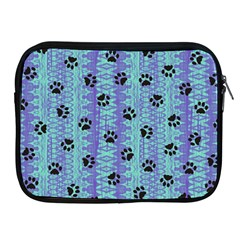 Footprints Cat Black On Batik Pattern Teal Violet Apple Ipad 2/3/4 Zipper Cases by EDDArt