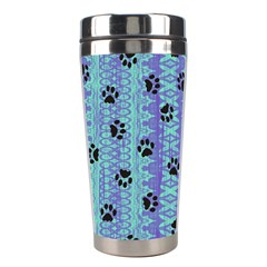 Footprints Cat Black On Batik Pattern Teal Violet Stainless Steel Travel Tumblers