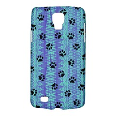 Footprints Cat Black On Batik Pattern Teal Violet Samsung Galaxy S4 Active (i9295) Hardshell Case by EDDArt