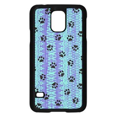 Footprints Cat Black On Batik Pattern Teal Violet Samsung Galaxy S5 Case (black) by EDDArt