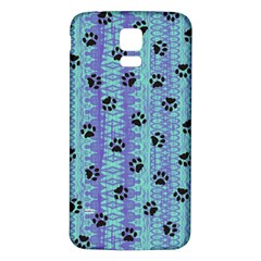 Footprints Cat Black On Batik Pattern Teal Violet Samsung Galaxy S5 Back Case (white)