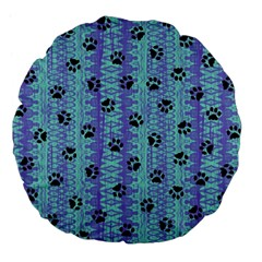 Footprints Cat Black On Batik Pattern Teal Violet Large 18  Premium Flano Round Cushions by EDDArt