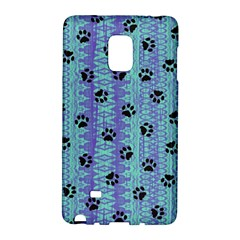 Footprints Cat Black On Batik Pattern Teal Violet Samsung Galaxy Note Edge Hardshell Case by EDDArt
