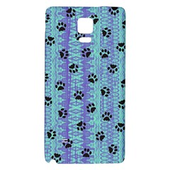 Footprints Cat Black On Batik Pattern Teal Violet Samsung Note 4 Hardshell Back Case by EDDArt