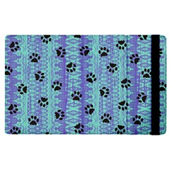 Footprints Cat Black On Batik Pattern Teal Violet Apple Ipad Pro 12 9   Flip Case by EDDArt
