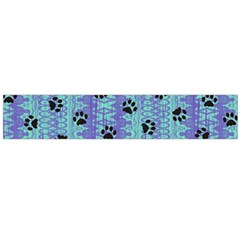 Footprints Cat Black On Batik Pattern Teal Violet Large Flano Scarf  by EDDArt