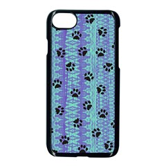 Footprints Cat Black On Batik Pattern Teal Violet Apple Iphone 7 Seamless Case (black) by EDDArt