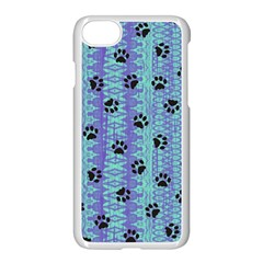 Footprints Cat Black On Batik Pattern Teal Violet Apple Iphone 7 Seamless Case (white) by EDDArt
