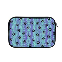 Footprints Cat Black On Batik Pattern Teal Violet Apple Macbook Pro 13  Zipper Case by EDDArt