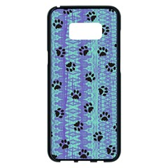 Footprints Cat Black On Batik Pattern Teal Violet Samsung Galaxy S8 Plus Black Seamless Case by EDDArt