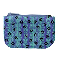 Footprints Cat Black On Batik Pattern Teal Violet Large Coin Purse by EDDArt
