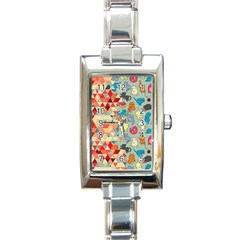 Hipster Triangles And Funny Cats Cut Pattern Rectangle Italian Charm Watch by EDDArt