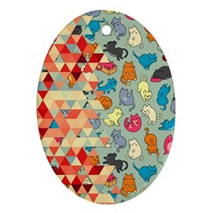 Hipster Triangles And Funny Cats Cut Pattern Ornament (oval) by EDDArt
