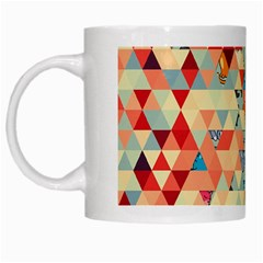 Hipster Triangles And Funny Cats Cut Pattern White Mugs by EDDArt