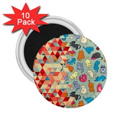 Hipster Triangles And Funny Cats Cut Pattern 2 25  Magnets (10 Pack)  by EDDArt