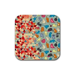 Hipster Triangles And Funny Cats Cut Pattern Rubber Coaster (square)  by EDDArt