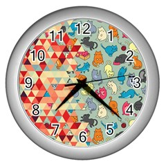 Hipster Triangles And Funny Cats Cut Pattern Wall Clock (silver) by EDDArt