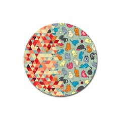 Hipster Triangles And Funny Cats Cut Pattern Magnet 3  (round) by EDDArt