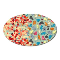 Hipster Triangles And Funny Cats Cut Pattern Oval Magnet by EDDArt