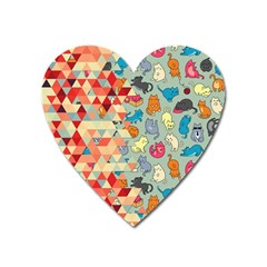 Hipster Triangles And Funny Cats Cut Pattern Heart Magnet by EDDArt