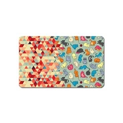 Hipster Triangles And Funny Cats Cut Pattern Magnet (name Card) by EDDArt