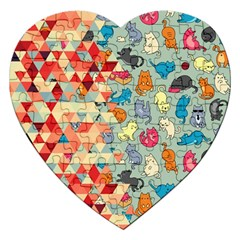 Hipster Triangles And Funny Cats Cut Pattern Jigsaw Puzzle (heart) by EDDArt
