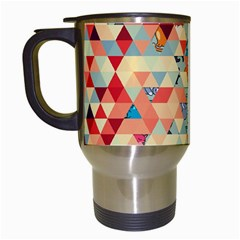 Hipster Triangles And Funny Cats Cut Pattern Travel Mugs (white) by EDDArt