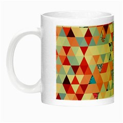 Hipster Triangles And Funny Cats Cut Pattern Night Luminous Mugs by EDDArt