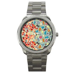 Hipster Triangles And Funny Cats Cut Pattern Sport Metal Watch by EDDArt