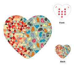 Hipster Triangles And Funny Cats Cut Pattern Playing Cards (heart)  by EDDArt
