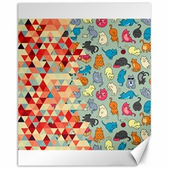 Hipster Triangles And Funny Cats Cut Pattern Canvas 16  X 20   by EDDArt