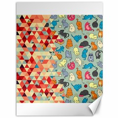Hipster Triangles And Funny Cats Cut Pattern Canvas 36  X 48   by EDDArt