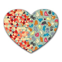 Hipster Triangles And Funny Cats Cut Pattern Heart Mousepads