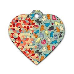 Hipster Triangles And Funny Cats Cut Pattern Dog Tag Heart (two Sides) by EDDArt