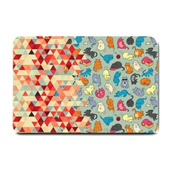 Hipster Triangles And Funny Cats Cut Pattern Small Doormat