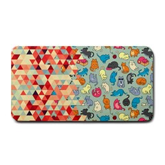 Hipster Triangles And Funny Cats Cut Pattern Medium Bar Mats by EDDArt