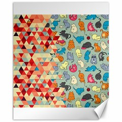 Hipster Triangles And Funny Cats Cut Pattern Canvas 11  X 14   by EDDArt