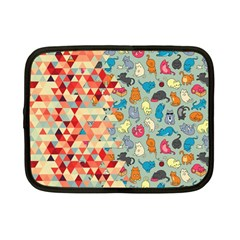Hipster Triangles And Funny Cats Cut Pattern Netbook Case (small)  by EDDArt