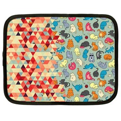 Hipster Triangles And Funny Cats Cut Pattern Netbook Case (large) by EDDArt