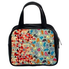 Hipster Triangles And Funny Cats Cut Pattern Classic Handbags (2 Sides) by EDDArt