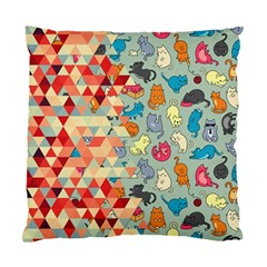Hipster Triangles And Funny Cats Cut Pattern Standard Cushion Case (one Side) by EDDArt
