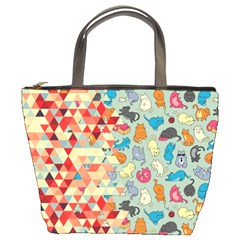 Hipster Triangles And Funny Cats Cut Pattern Bucket Bags by EDDArt