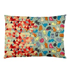Hipster Triangles And Funny Cats Cut Pattern Pillow Case by EDDArt