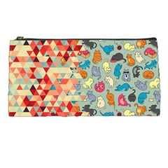 Hipster Triangles And Funny Cats Cut Pattern Pencil Cases by EDDArt