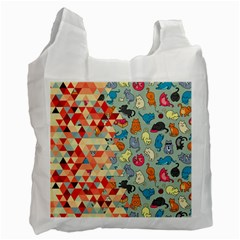 Hipster Triangles And Funny Cats Cut Pattern Recycle Bag (one Side) by EDDArt