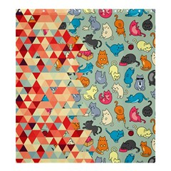 Hipster Triangles And Funny Cats Cut Pattern Shower Curtain 66  X 72  (large)  by EDDArt